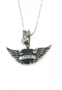Spy Henry Lau Angel Wing Love Stone Pendant Necklace Silver SP788AC01ZGKHK