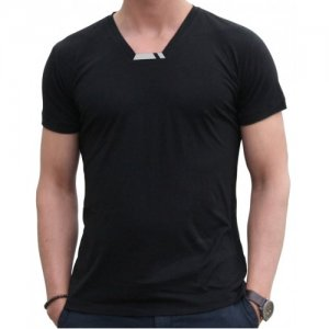 Blunt Neck Luxe Short Sleeved T Shirt Black R-M-SS-BL