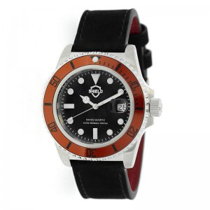 Shield Cousteau Leather-Band Pro-Diver Swiss Watch w/Date - ...