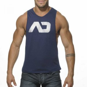 Addicted AD Low Rider Tank Top T Shirt Navy AD043