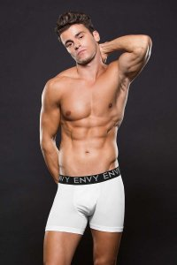 Envy Micro Low Rise Logo Elastic Boxer Brief Underwear White E045