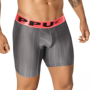 PPU Graphite Stripe Long Leg Boxer Brief Underwear Grey 1405