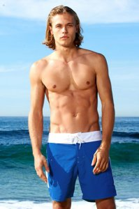 Sauvage Banded Pocket Boardshorts Beachwear Royal Blue/White M160