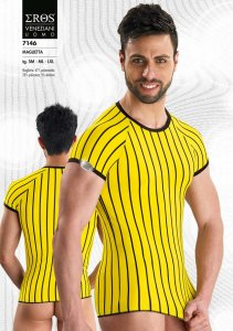 Eros Veneziani Stripe Short Sleeved T Shirt Yellow 7146