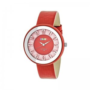 Crayo Celebration Leather-Band Watch - Red CRACR3408
