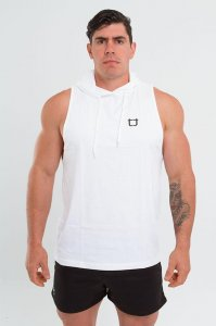 Twotags Muscle Sleeveless Hoodie Sweater White