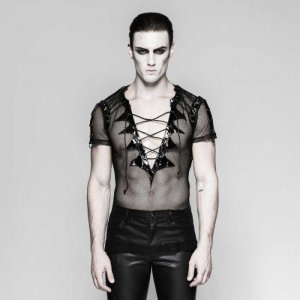 Punk Rave Dark Beat Mesh Lace Up Deep V Neck Short Sleeved T Shirt Black T-468