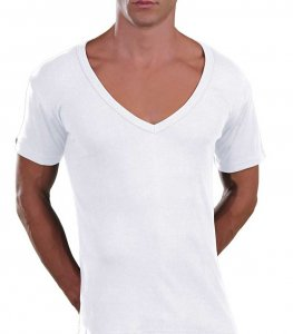 Lord Too Open Deep V Neck Short Sleeved T Shirt White 1231