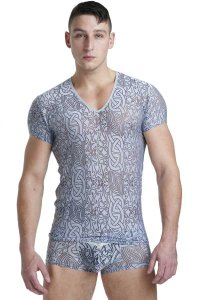 L'Homme Invisible Devore V Neck Short Sleeved T Shirt Silver MY61D-DE2