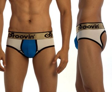Groovin Bold Line Sports Jock Brief Jock Strap Underwear White/Blue/Black JK0241