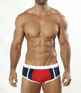 Cover Male Red Navy Boxer Square Cut Trunk Swimwear Blue 0706