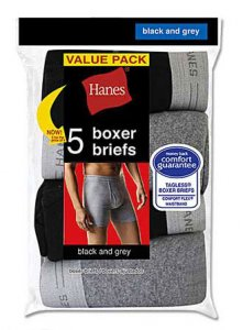 Hanes [10 Pack] Dyed Boxer Brief Underwear Black & Grey V-23...