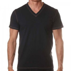 Levi's V Neck Short Sleeved T Shirt Black ULV3LN10100