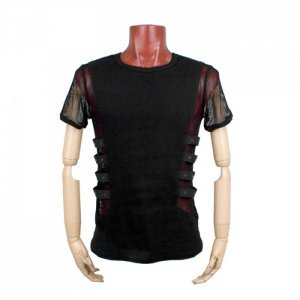 Punk Rave Gothic Mesh Strapped Knitted Short Sleeved T Shirt Black T-313
