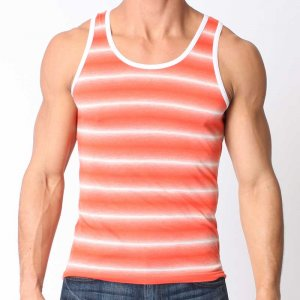 Timoteo Venice Beach Tank Top T Shirt Red/White 7241