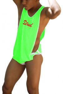 Icker Sea Stud Large Armhole Tank Top T Shirt Green/Red CA-16-ST-51