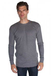 Royal Apparel Unisex 50/50 Thermal Long Sleeved T Shirt Heather Charcoal 23055