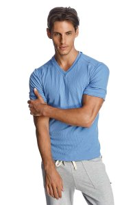 4-rth Hybrid V Neck Short Sleeved T Shirt Ice Blue