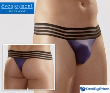 Svenjoyment Stripe Wide Waistband G String Underwear Purple 2111047