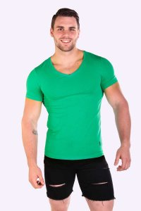 JJ Malibu Hidden Gem Emerald V Neck Short Sleeved T Shirt Gr...