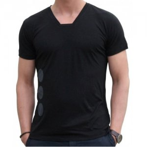 Blunt Neck Quoto Short Sleeved T Shirt Black Q-M-SS-BL