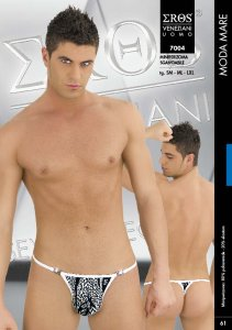 Eros Veneziani White Leopard Mini Detachable String Underwear 7004