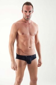 Geronimo Detachable Pouch Brief Underwear Black 1353S2