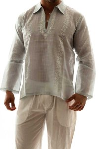 L'Homme Invisible Jaya Hand Embroidered Tunic Night Shirt Lo...