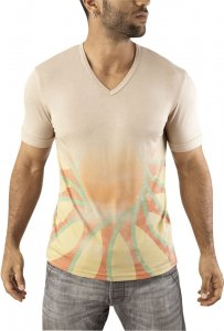 Vuthy Graphic V Neck Short Sleeved T Shirt Beige 252