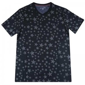 Beans & Bones Stars V Neck Short Sleeved T Shirt Dark Grey 8...