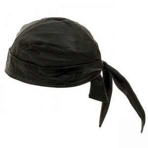 Hawg Hides Solid Genuine Leather Motorcycle Skull Hat HH-123