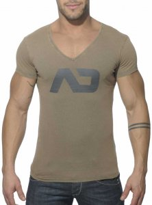 Addicted Vintage V Neck Short Sleeved T Shirt Khaki AD214