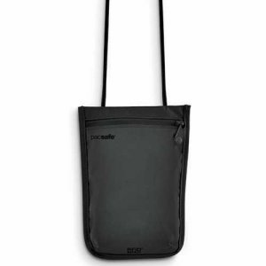 Pacsafe RFIDSafe 75 RFID Blocking Neck Pouch Bag Black