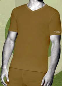 Nukleus Quintet Plant The Bintangor V Neck Short Sleeved T Shirt Light Brown NPT9039