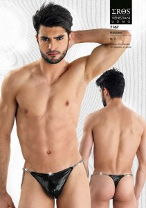 Eros Veneziani Stripe Chain Thong Underwear Black 7167