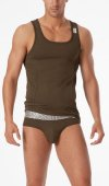 2xist Military Square Neck Tank Top T Shirt Army Green 34867