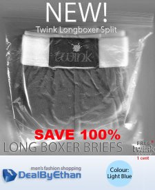 Twink Solid Split Long Boxer Brief FREE Men's Underwear Ligh...