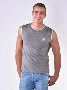 Roberto Lucca Slim Fit Muscle Top T Shirt Silver Grey Melange 80004-30234