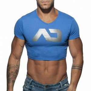 Addicted AD Crop Top Short Sleeved T Shirt Blue AD819