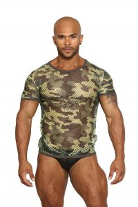 Black Unicorn Greek Fishnet Small Holes Short Sleeved T Shirt Camouflage BU073