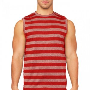 Papi After Dark Stripe Muscle Top T Shirt Red 626802