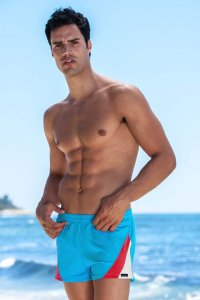 Sauvage Color Splice 80s Square Cut Trunk Swimwear Turquoise/Red/White
