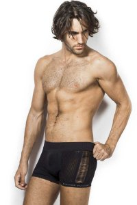 L'Homme Invisible Ajoure Openwork Boxer Brief Underwear Black MY21-290