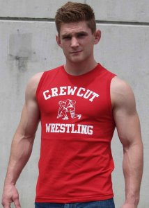 Ajaxx63 Crew Cut Athletic Fit Muscle Top T Shirt Red/White S...