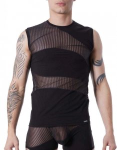 Lookme Shade Mesh Bars Panel Muscle Top T Shirt Black 803-77
