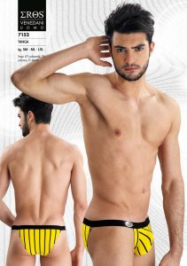 Eros Veneziani Stripe Tanga Brief Underwear Yellow 7152