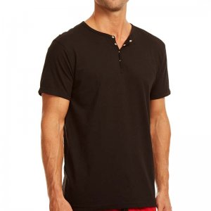 Papi Knit Jersey Henley Short Sleeved T Shirt Black 627105