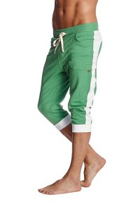 4-rth Cuffed Yoga 3/4 Pants Bamboo Green/White