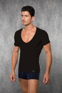 Doreanse Plain Deep V Neck Short Sleeved T Shirt Brown 2820
