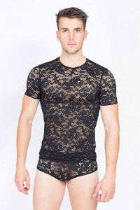 Clearance Lookme Sensuality Short Sleeved T Shirt Black 706-81